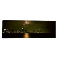 Panoramic 'Skyscrapers Lit up at Night, Coronado Bridge, San Diego, California' Photographic Print on Canvas