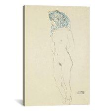 'Standing Female Nude, Arms Crossed in the Back (Stehender Frauenakt, Mit Im Rucken Verschrankten Armen) 1906-1907' by Gustav Klimt Graphic Art on Canvas