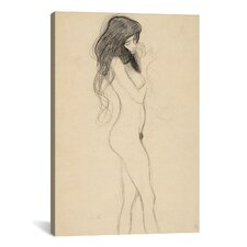 'Standing Female Nude from the Front' by Gustav Klimt Painting Print on Canvas
