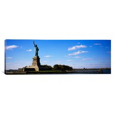 Panoramic Statue Viewed Through a Ferry, Statue of Liberty, Liberty State Park, Liberty Island, New York City Photographic Print on Canvas