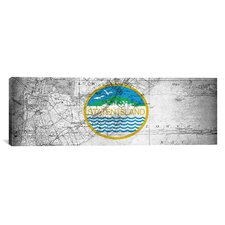 Flags Staten Island Map Panoramic Graphic Art on Canvas