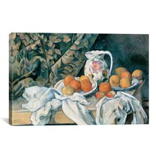 'Still Life with a Curtain 1895' by Paul Cezanne Painting Print on Canvas