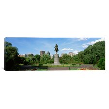 Panoramic Statue in a Garden, Boston Public Gardens, Boston, Massachusetts Photographic Print on Canvas