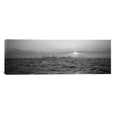 Panoramic Sunset over a City, Chicago, Illinois Photographic Print on Canvas