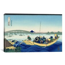 Ryogoku Bridge at Onmayagashi by Katsushika Hokusai Graphic Art on Canvas