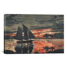'Sunset Fires 1880' by Winslow Homer Painting Print on Canvas