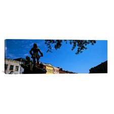 Panoramic Statues in front of Buildings, French Market, French Quarter, New Orleans, Louisiana Photographic Print on Canvas