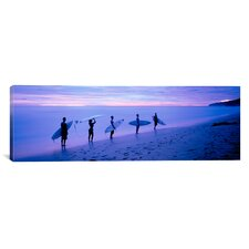 Panoramic Surfers on Beach Costa Rica Photographic Print on Canvas