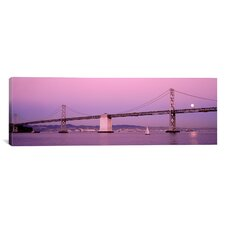 Panoramic Suspension Bridge over a Bay, Bay Bridge, San Francisco, California Photographic Print on Canvas