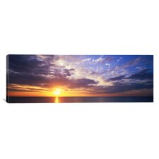 Panoramic Sunset, Water, Ocean, Caribbean Island, Grand Cayman Island Photographic Print on Canvas