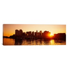 Panoramic Sunset over Skyscrapers, Boston, Massachusetts Photographic Print on Canvas