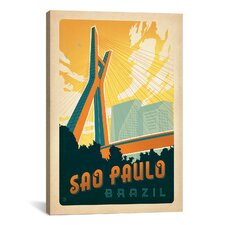 'Sao Paulo, Brazil' by Anderson Design Group Vintage Advertisement on Canvas