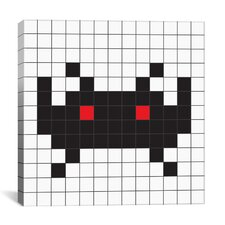 Space Invader - Black Tile Art Canvas Wall Art