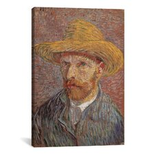 'Self Portrait with a Straw Hat 1887' by Vincent Van Gogh Painting Print on Canvas