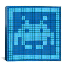 Space Invader - Blue Invader Tile Art (Light Blue and Blue) Canvas Wall Art