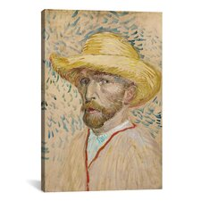 'Self Portrait with Straw Hat' by Vincent Van Gogh Painting Print on Canvas