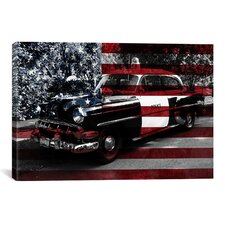 Vintage Polics Cops Car, American Flag Graphic Art on Canvas
