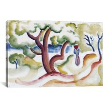 """Women with Pitcher under Trees' by August Macke Painting Print on Canvas"