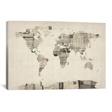 Vintage Postcard World Map by Michael Tompsett Graphic Art on Canvas