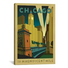 'The Magnificent Mile - Chicago, Illinois ll' by Anderson Design Group Vintage Advertisment on Canvas
