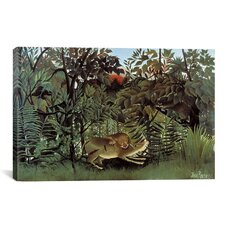 'The Hungry Lion Throws Itself on the Antelope 1905' by Henri Rousseau Graphic Art on Canvas