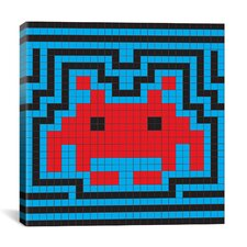 Space Invaders Aura Tile (Red, Blue, and Black) Graphic Art on Canvas