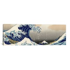 'The Great Wave at Kanagawa 1829' Panoramic by Katsushika Hokusai Painting Print on Canvas