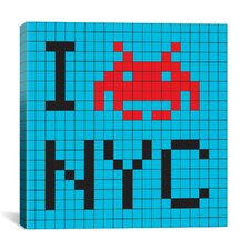 Space Invader - I Invade NYC Tile Art Blue Canvas Wall Art