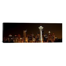 Panoramic Seattle Skyline Cityscape (Night) Photographic Print on Canvas
