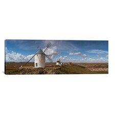 Panoramic Traditional Windmill on a Hill, Consuegra, Toledo, Castilla La Mancha, Toledo province, Spain Photographic Print on Canvas