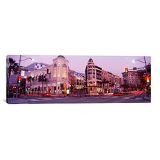 Panoramic Traffic on the Road, Rodeo Drive, Beverly Hills, Los Angeles County, California Photographic Print on Canvas