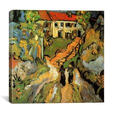 """""""Village Street and Steps in Auvers with Two Figures"""" Canvas Wall Art by Vincent Van Gogh"""