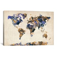 """Urban Watercolor World Map V"" by Michael Thompsett Painting Print on Canvas"