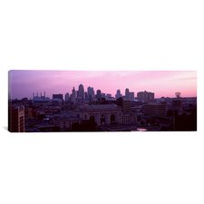 Panoramic Union Station at Sunset with City Skyline in Background, Kansas City, Missouri Photographic Print on Canvas