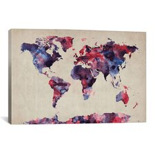 """Urban Watercolor World Map VII"" by Michael Thompsett Painting Print on Canvas"