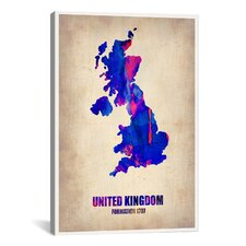 """United Kingdom Watercolor Map"" Canvas Wall Art by Naxart"