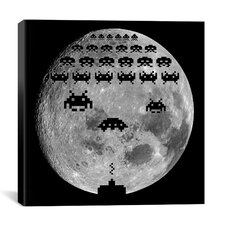 Space Invaders - Moon Battle Canvas Wall Art