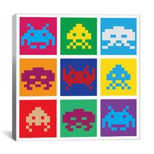 Space Invaders - Pop Art Multicolor Canvas Wall Art