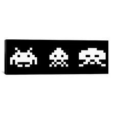 Space Invaders Trio (Black and White) Graphic Art on Canvas