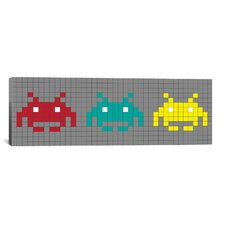 Space Invaders Trio (Red, Teal, and Yellow) Graphic Art on Canvas