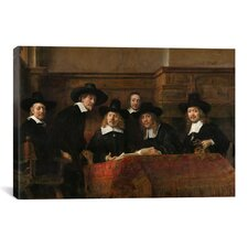 'The Sampling Officials or Syndics of 'The Drapers' Guild' by Rembrandt Painting Print on Canvas