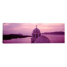 Panoramic Silhouette of a Church, Santorini Church, Greece Photographic Print on Canvas