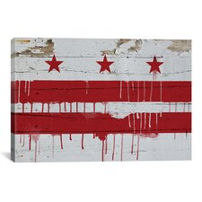 Flags Washington, D.C Wood Planks with Paint Drip Graphic Art on Canvas