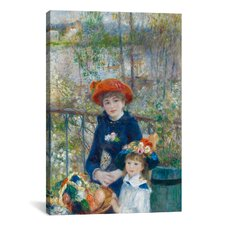 'Two Sisters (On the Terrace) 1881' by Pierre-Auguste Renoir Painting Print on Canvas