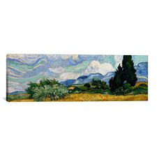 'Wheatfield with Cypresses 1889' by Vincent Van Gogh Painting Print on Canvas