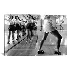 """""""Tap Dancing Class at Lowa State College in 1942"""" Canvas Wall Art by Jack Delano"""