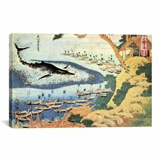 'Whaling off Goto from Oceans of Wisdom 1834' by Katsushika Hokusai Painting Print on Canvas