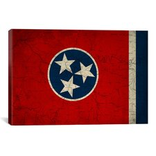 Flags Tennessee Map Graphic Art on Canvas