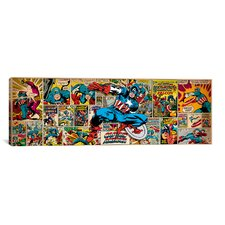 Marvel Comics Captain America on Captain America Cover and Panel Panoramic Graphic Art on Canvas