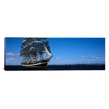 Panoramic Tall Ships Race in the Ocean, Baie De Douarnenez, Finistere, Brittany, France Photographic Print on Canvas